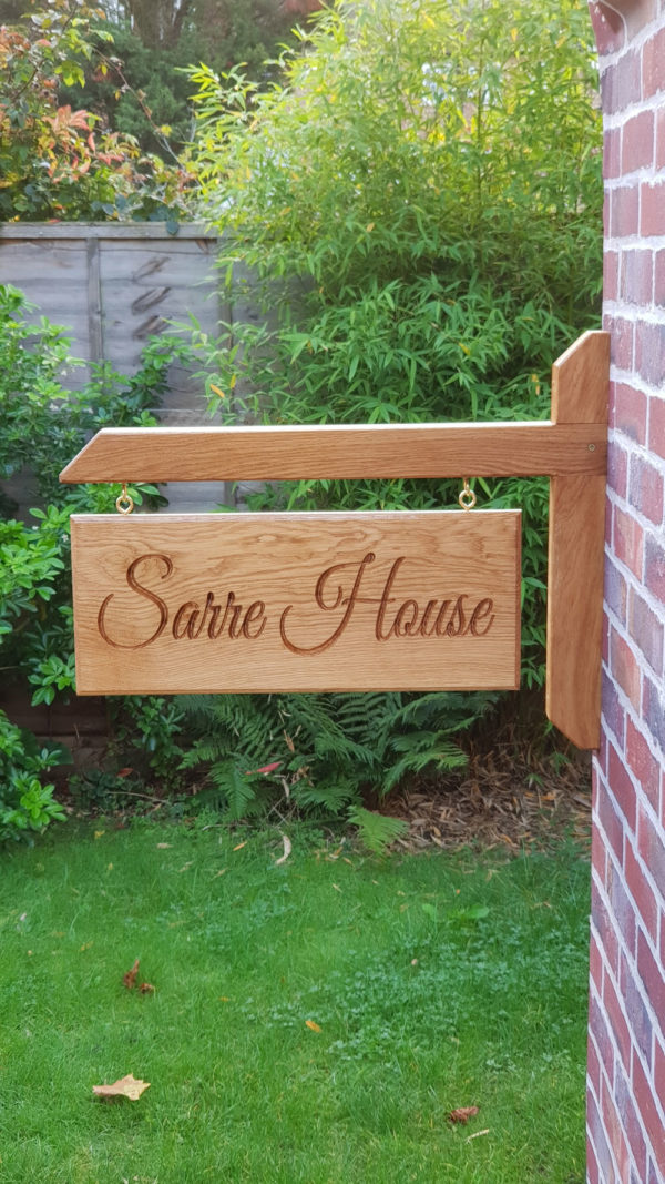 Double Sided Engraved Oak Personalised Wooden Hanging House Name/Number Sign