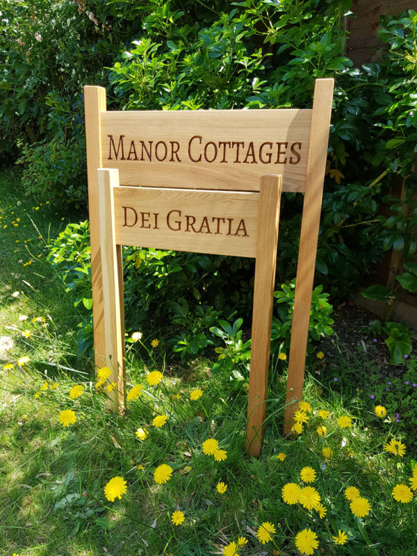 Oak House Sign with posts, carved, personalised custom engraved wooden plaque